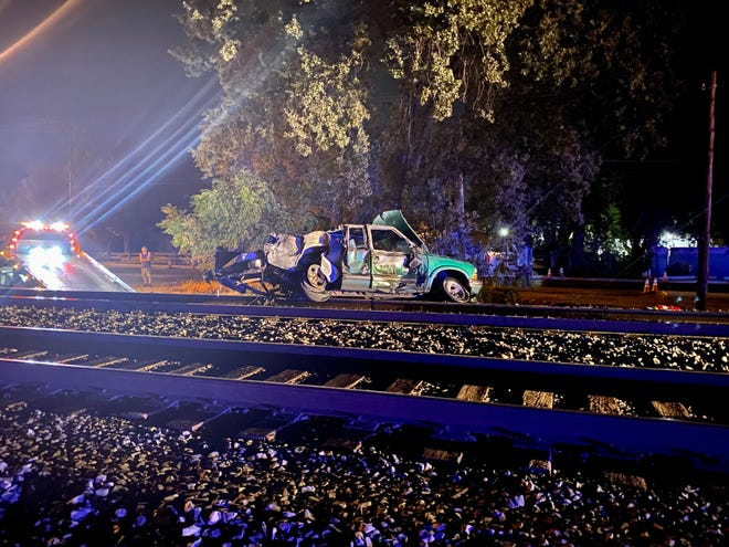 This Chevy pickup was hit by an Amtrak train on the morning of Friday, Sept. 3, 2021, in south Redding. There were no injuries.