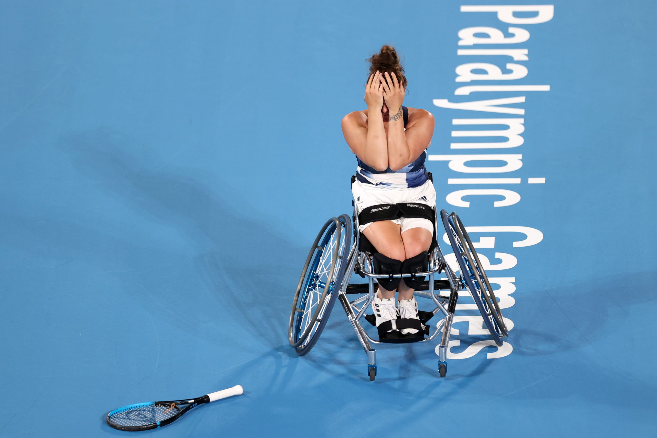 Sept. 3: Jordanne Whiley of Team Great Britain shows emotion as she wins the bronze medal after her victory over Aniek van Koot of Team Netherlands in the Wheelchair Tennis Women's Singles bronze medal match on day 10 of the Tokyo 2020 Paralympic Games at Ariake Tennis Park.
