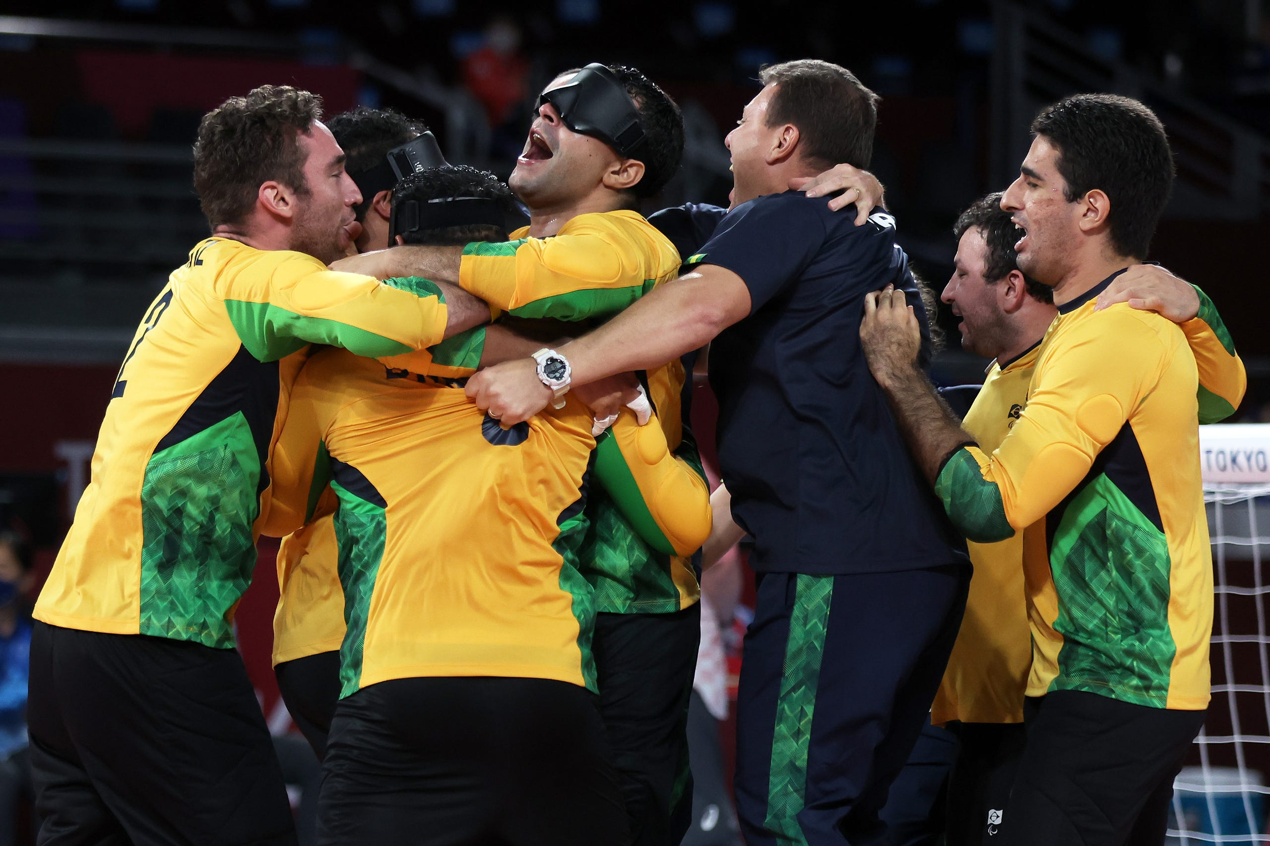 Sept. 3: Team Brazil celebrates after defeating Team China in the Goalball Men's Gold Medal match on day 10 of the Tokyo 2020 Paralympic Games at Makuhari Messe.