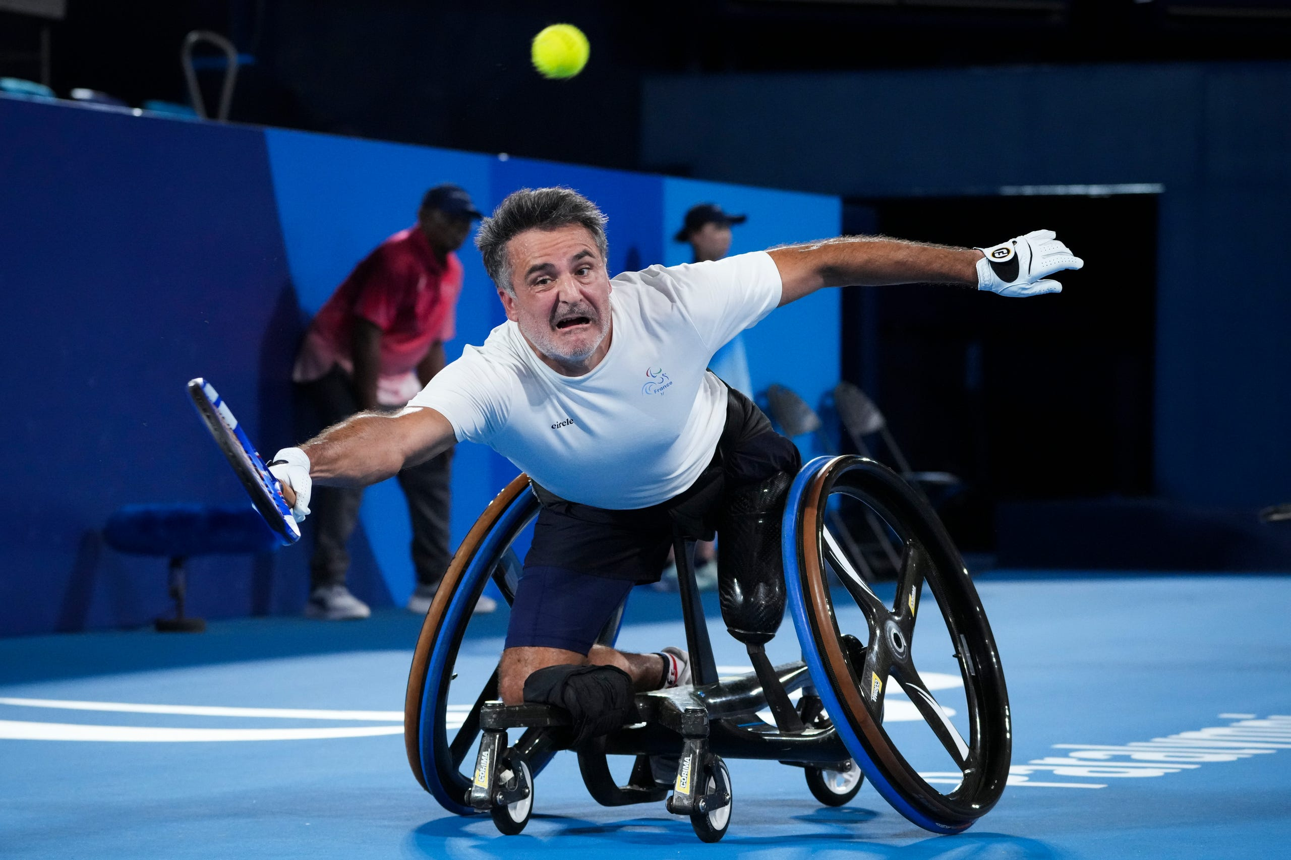 Sept. 3: Stephane Houdet of Team France competes against Alfie Hewett and Gordon Reid of Team Great Britain in the Men's Doubles Gold Medal Match on day 10 of the Tokyo 2020 Paralympic Games at Ariake Tennis Park.