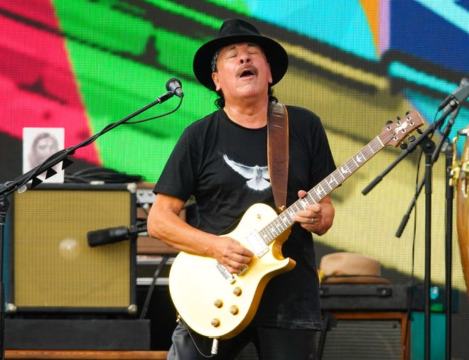 Carlos Santana performs at Central Park, Great Lawn on Aug. 21.
