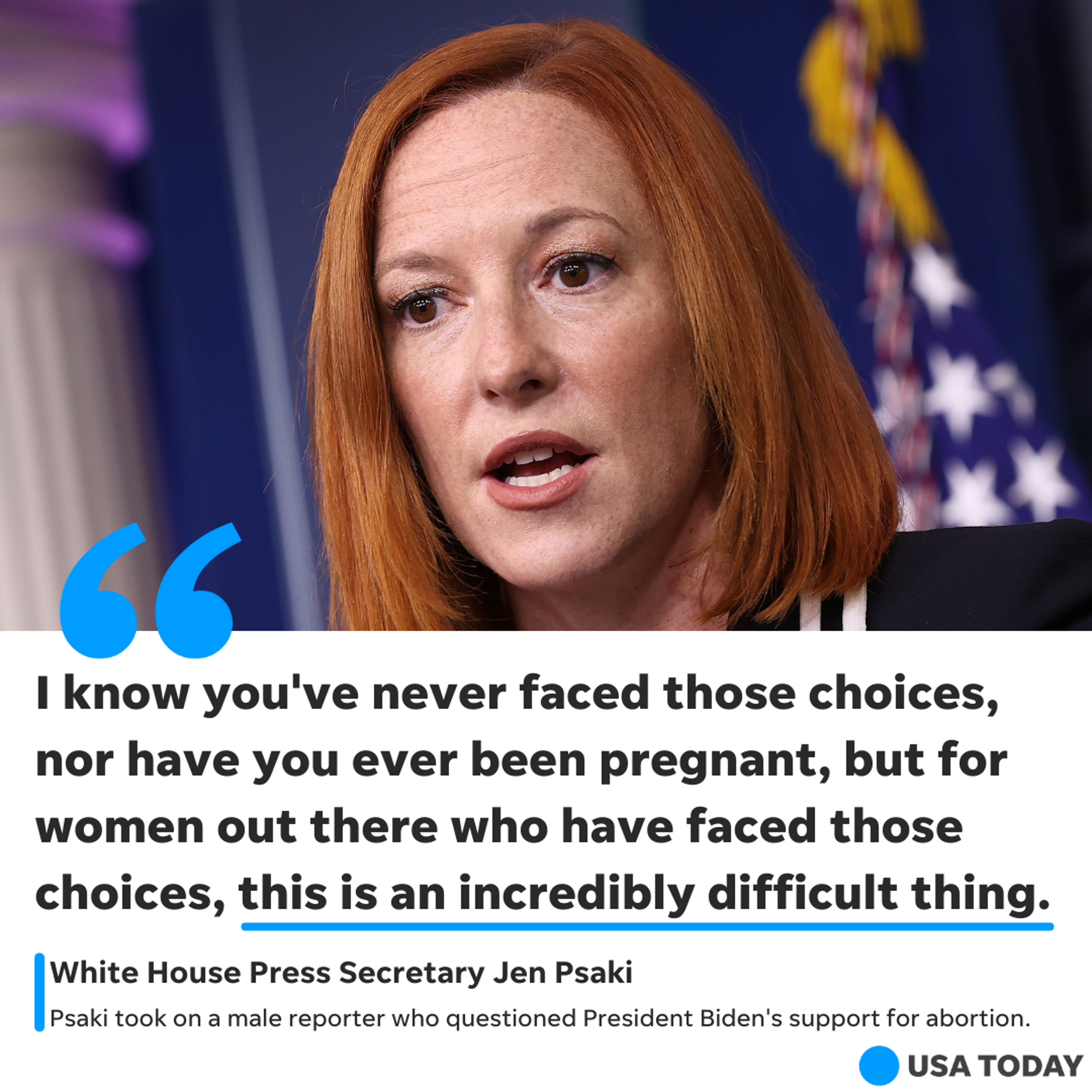 White House press secretary Jen Psaki affirms the president's support for abortion rights.
