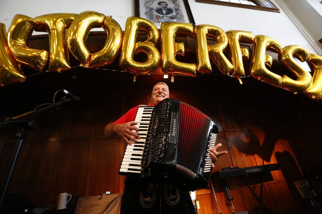 Mike Farrenkopf helps kick off the 54th Annual Columbus Oktoberfest during an event at Hofbrauhaus in Grandview Yard on Thursday, September 5, 2019. Oktoberfest will be held September 6, 7, and 8, 2019, at the Ohio Expo Center. There will be lots of space for polka dancing. [Fred Squillante/Dispatch]