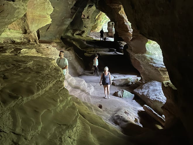 The trail through Rock House takes visitors through the only true cave in Hocking Hills State Park.