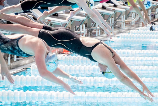 Jensen Beach's Blair Stoneburg, shown competing at last year's Class 2A state swimming meet, was one of four swimmers who broke national records at Saturday's King's Academy Short Course Meters Invite.