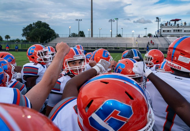Palm Beach Gardens gets ready to play Glades Central in Belle Glade, Florida on September 3, 2021.