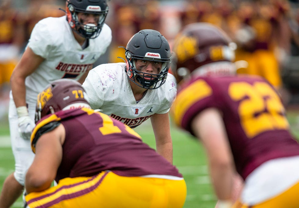Rochester's Ian Lichtenberger (43) eyes the Loyola Academy offense in the second half at Hoerster Field in Wilmette, Ill., Saturday, September 4, 2021. [Justin L. Fowler/The State Journal-Register]