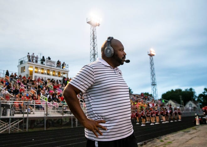 Springfield head football coach Roy Gully watches as the Senators take on Lanphier at Memorial Stadium in Springfield, Ill., Friday, September 3, 2021. [Justin L. Fowler/The State Journal-Register]