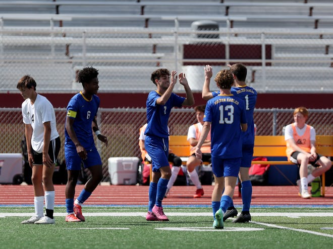 Aberdeen Central forward Marcos Ramos Garcia celebrates his goal in the 17th minute with defender Jameson Palmer (1) and midfielder Isaac Stockert (13) during Saturday's game at Swisher Field against Brandon Valley. American News photo by Jenna Ortiz, taken 09/04/2021.