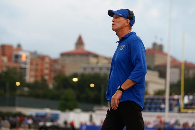 Jayhawaks coach Lance Leipold coachs his team from the sidelines during the first half of Friday's game against South Dakota.