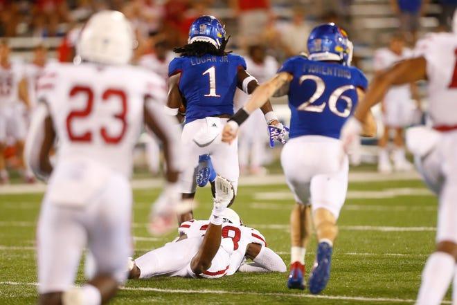 Kansas junior safety Kenny Logan Jr. runs for 83 yards on a kick return against South Dakota in the second half of Friday's game at David Booth Kansas Memorial Stadium. The Jayhawks won 17-14.