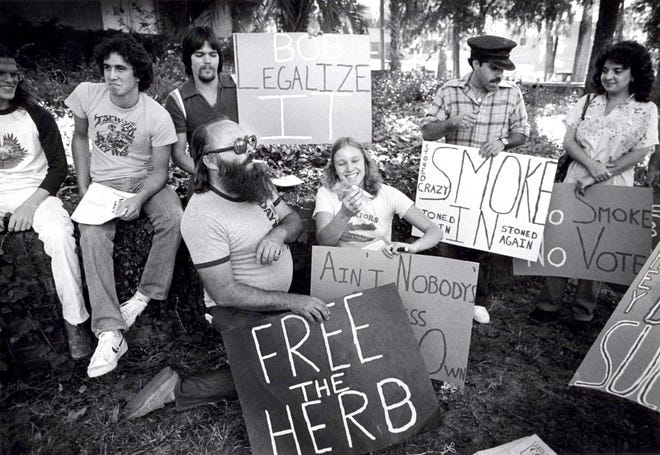 Demonstrators ask for the legalization of marijuana during protests on June 2, 1980, in Gainesville. [The Gainesville Sun/File]