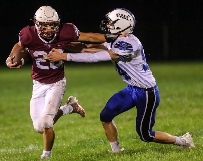 Mayville running back Blake Schraufnagel has 1,034 yards rushing on 107 carries this season with 16 touchdowns for the Cardinals.