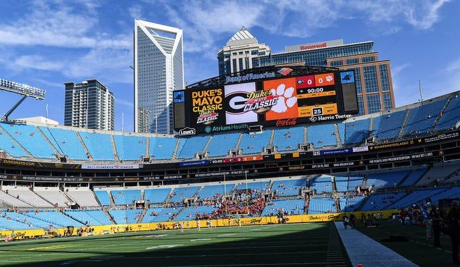 The scoreboard flashed the DukeÕs Mayo Classic logo with a city skyline view Sep 4, 2021; Charlotte, North Carolina, USA;  at Bank of America Stadium. (Ken Ruinard-USA TODAY Sports)