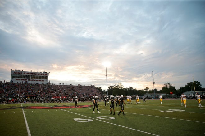 Inside Scheumann Stadium as the Lafayette Jeff Bronchos take on the McCutcheon Mavericks during the second quarter of an IHSAA football game, Friday, Sept. 3, 2021 in Lafayette.