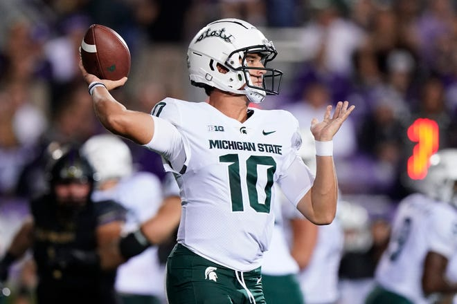 Michigan State quarterback Payton Thorne throws a pass against Northwestern during the first half of an NCAA college football game in Evanston, Ill., Friday, Sept. 3, 2021.