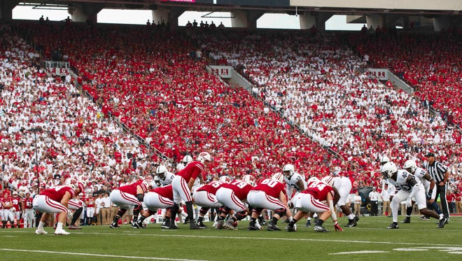 The Wisconsin Badgers line up for a play during the first quarter against the Penn State Nittany Lions at Camp Randall Stadium on Saturday.