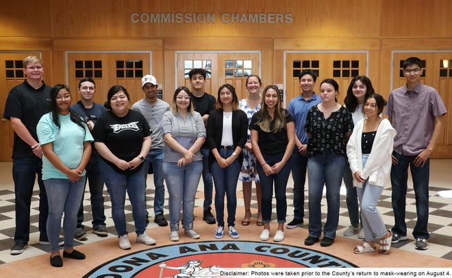 Summer interns in the Doña Ana County Government Center pose for a photo, taken before the state's indoors mask mandate.
