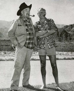 Two humorists and publishers in La Quinta: Harry Oliver (left) and Bennett Cerf (right).