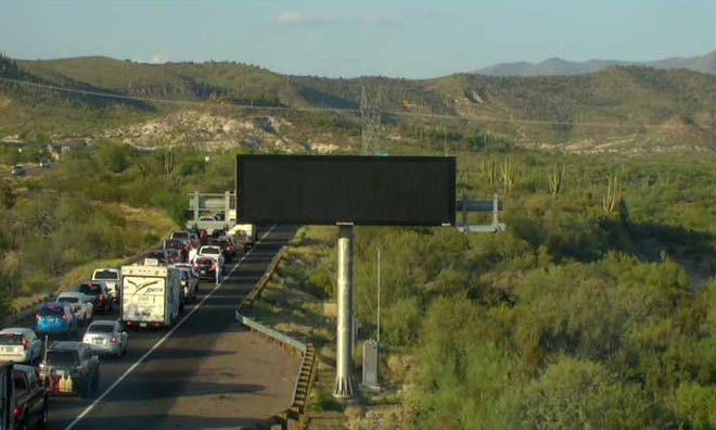 The northbound lanes of Interstate 17 experienced major delays due to holiday travel and a crash near Sunset Point on Sept. 3, 2021.