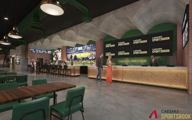 An artists rendering of inside Caesars Sportsbook at Chase Field.