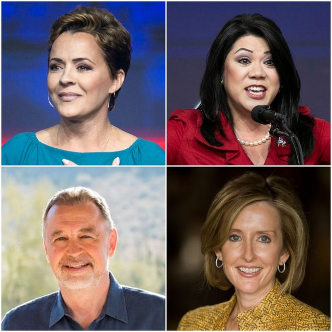The GOP candidates to replace Arizona Gov. Doug Ducey include Kari Lake (top left), Kimberly Yee (top right), Matt Salmon (bottom left) and Karrin Taylor Robson (bottom right), among others.