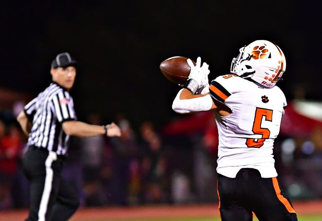 Central York's Parker Hines catches the ball and scores a touchdown during football action at Cumberland Valley High School in Silver Spring Township, Friday, Sept. 3, 2021. Central York would win the game 21-3. Dawn J. Sagert photo