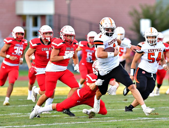 Cumberland Valley's Caiden Pines, works to pull down Central York's Beau Pribula during football action at Cumberland Valley High School in Silver Spring Township, Friday, Sept. 3, 2021. Central York would win the game 21-3. Dawn J. Sagert photo