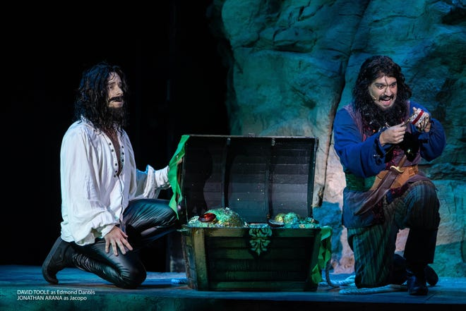 """David Toole as Edmond Dantes and Jonathan Arana as Jacopo in a scene from """"The Count of Monte Cristo"""" showing at the Tuacahn Center for the Arts in Ivins."""