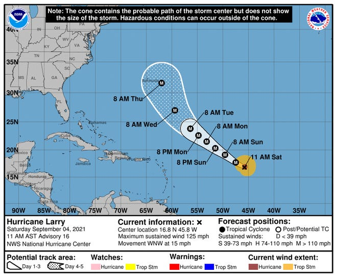The forecast for Hurricane Larry shows the storm may approach Bermuda later next week.