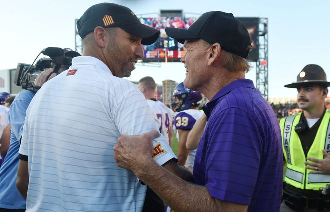 Iowa State's coach Matt Campbell gets a congratulation from UNI coach Mike Farley after winning 16-10 at Jack Trice Stadium Saturday, Sept. 4, 2021, in Ames, Iowa.
