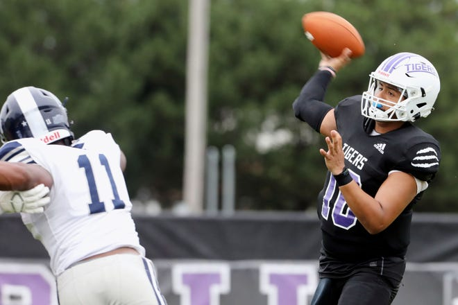 Iowa Wesleyan University quarterback Gavin Esquivel (10) passes the ball during their home game against Missouri Baptist University Saturday Sept. 4, 2021, at Mount Pleasant's Mapleleaf Athletic Complex.