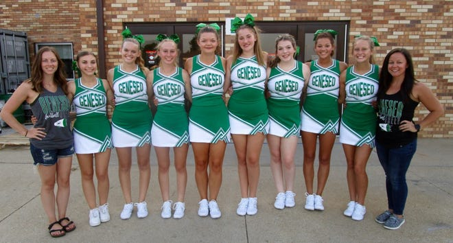 Coach Megan Kroll, left, and Coach Ashley Crider, at right, are photographed with GHS cheerleaders from the junior class, from left, Brooklyn Powell, Emma File, Violet Hodgson, Reagan Erickson, Madie McMahill, Rylie Bauer, Zaria Greene, Jordyn Sedkock.