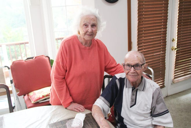 """Harry Lee """"Dusty"""" Foust turned 100 on Monday, Sept. 6, 2021. With him is his wife Betty Jo, 94."""