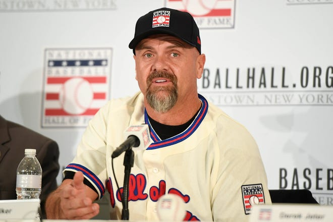 Larry Walker, talking to the media after being voted into the Baseball Hall of Fame in January 2020, made the 75 percent threshold on his 10th and final year on the ballot. Danielle Parhizkaran-USA TODAY Sports