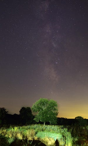 NEW BRAINTREE -The Milky Way was visible in the night sky above a tree in New Braintree on Saturday, Sept. 4, 2021. The Milky Way was visible from about 9 to 11 p.m.
