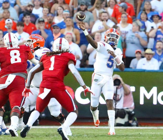 Gators quarterback Emory Jones throws Saturday against Florida Atlantic at Ben Hill Griffin Stadium.