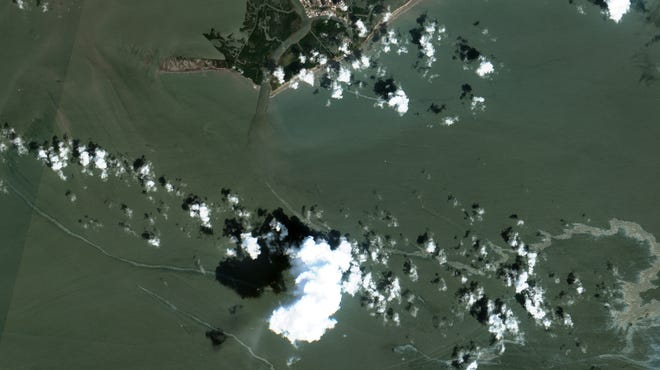In a satellite image provided by Maxar Technologies, an oil slick is shown on Sept. 2, 2021 south of Port Fourchon, La.