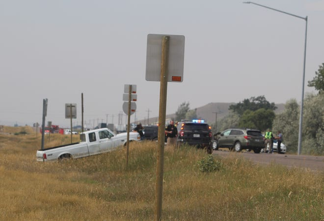 The aftermath of Sunday's auto accident at the Emerson Junction interchange of I-15 and the Vaughn South Frontage Road.
