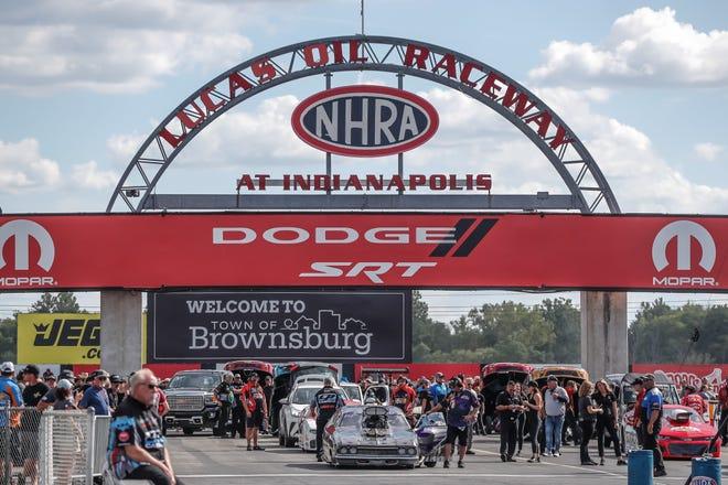 Cars line up for the finals during the NHRA Dodge//SRT NHRA U.S. Nationals. on Sunday, Sept 5, 2021, at Lucas Oil Raceway in Brownsburg Ind.
