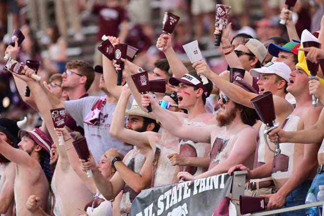 Mississippi State Bulldogs fans cheer during the fourth quarter against the Louisiana Tech Bulldogs at Davis Wade Stadium at Scott Field.