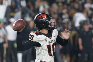 Oregon State quarterback Chance Nolan (10) throws during the third quarter of an NCAA college football game, Saturday, Sept. 4, 2021 at Ross-Ade Stadium in West Lafayette.