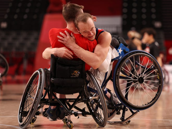 John Boie of Milton celebrates after defeating Team Japan during the men's wheelchair basketball gold medal game on day 12 of the Tokyo 2020 Paralympic Games at Ariake Arena on September 5, 2021 in Tokyo, Japan.