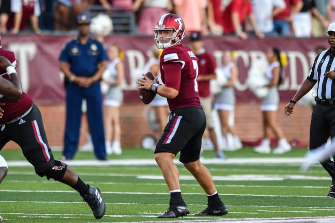 Troy quarterback Taylor Powell looks to throw in the first half against Southern University