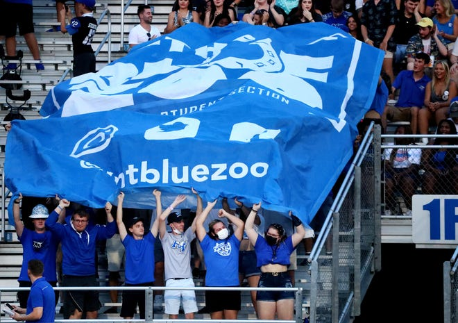 The MTSU student section celebrates a MTSU scoring against Monmouth Hawks on Saturday, Sept. 4, 2021, at MTSU.