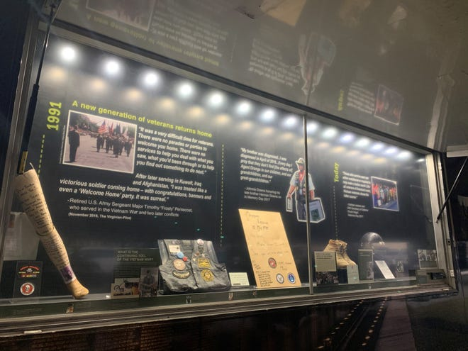 The mobile education center, which is another component of The Wall That Heals, provides additional information about the Vietnam Veterans Memorial and the collection of items left at The Wall in Washington, D.C.