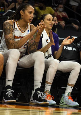 Phoenix Mercury stars Brittney Griner, left, and Diana Taurasi are among those on the W25, a silver anniversary list of the WNBA's greatest 25 players.