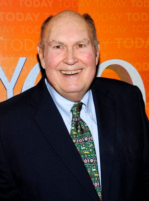 """FILE - In this Thursday, Jan. 12, 2012, file photo, former """"Today"""" show weatherman Willard Scott attends the """"Today"""" show 60th anniversary celebration at the Edison Ballroom in New York. Scott, the beloved weatherman who charmed viewers of NBC's """"Today"""" show with his self-deprecating humor and cheerful personality, has died at age 78. Al Roker, his successor on the morning news show, announced that Scott died peacefully Saturday morning, Sept. 4, 2021, surrounded by family. (AP Photo/Evan Agostini, File)"""