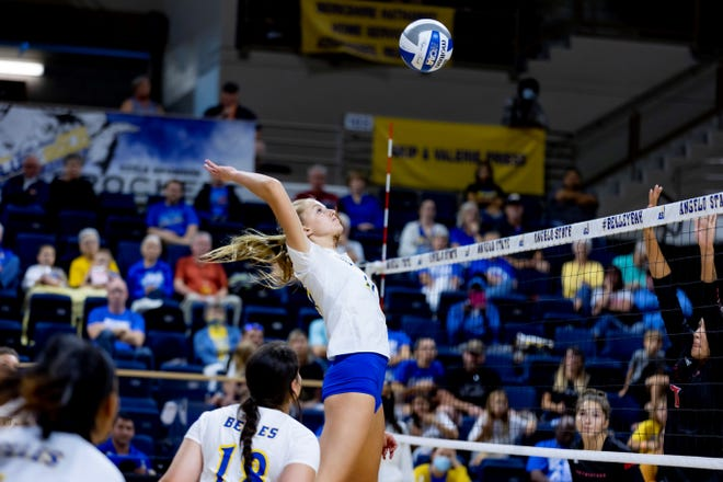 Angelo State University's Emma LaBarge goes up for a shot in a match against Northwestern Oklahoma State at the Kathleen Brasfield Invitational at the Junell Center on Saturday, Sept. 4, 2021.