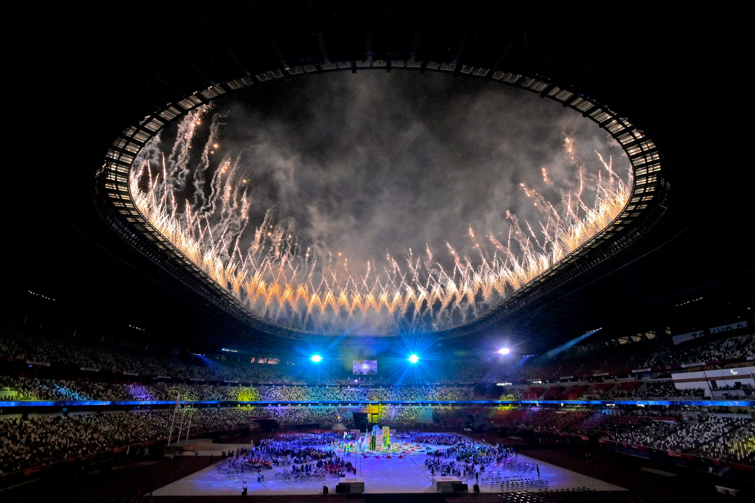 Sept. 5, 2021: Fireworks erupt above the stadium during the Closing Ceremony on day 12 of the Tokyo 2020 Paralympic Games at Olympic Stadium in Tokyo, Japan.